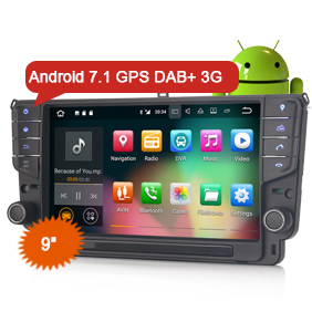 "Erisin ES3711G 9"" Car Stereo GPS Android 7.1 WiFi 3G DVR DAB+ DTV-IN Sat Nav For VW Golf VII/7"