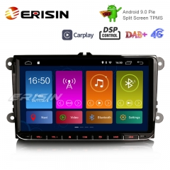 "Erisin ES3001V 9"" Android 10.0 Autoradio DAB+ 4G GPS CarPlay for VW Passat CC Polo Golf Tiguan Caddy"