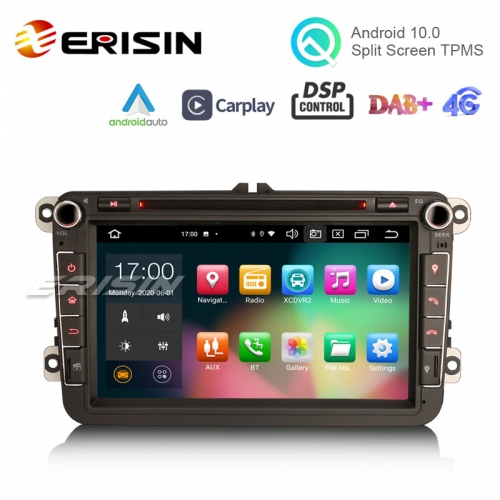 "Erisin ES8105V 8"" Android 10.0 Car Stereo DVD for VW Golf Passat Polo Bora Seat Peugeot 307 DSP CarPlay & Auto GPS TPMS DAB+ 4G 64G"