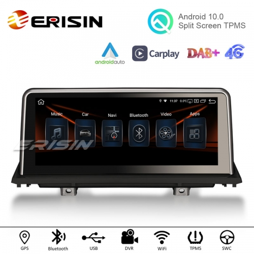 "Erisin ES2870B 10.25"" HD IPS-Screen PX5 Capacitive Android 10.0 Car Multimedia Player GPS WiFi TPMS DVR DAB+ Radio for BMW X5 E70 CIC X6 E71 CCC"