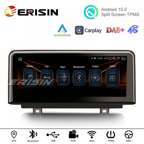 "Erisin ES2830B 10.25"" HD IPS Android 10.0 Car Stereo GPS Carplay AndroidAuto WiFi TPMS DVR DAB+ Radio for BMW 1er-F20/F21, 3er-F30/F31/F34, 4er-F32/F3"